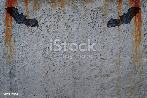 istock Bloody wall with bat silhouettes. Copy space for text. Halloween poster concept and greeting card template 845897554