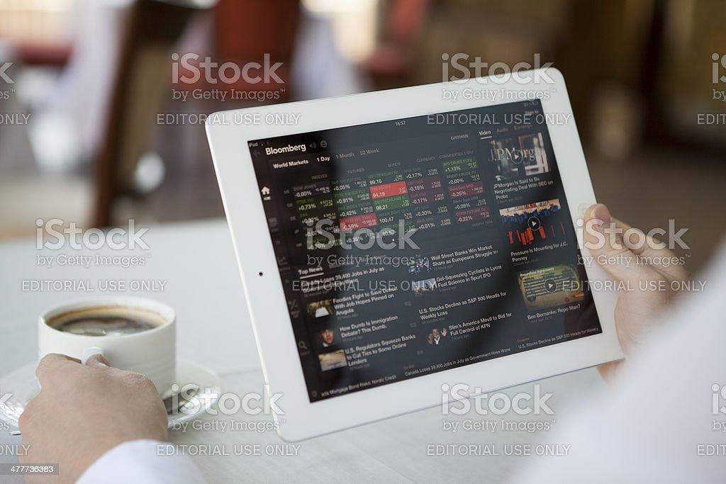 Bloomberg app on iPad stock photo