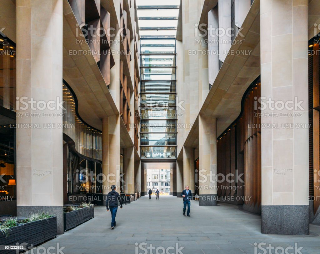 Bloomberg Arcade in the City of London was inaugurated in late 2017 and features 10 highly rated restaurants stock photo