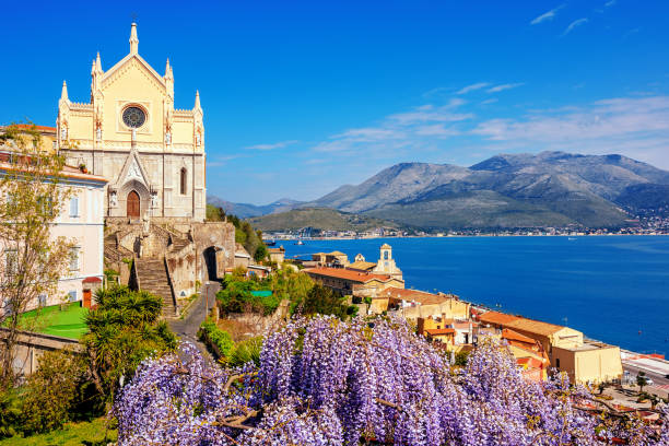 Blooming wisteria flowers in Gaeta old town, Italy stock photo
