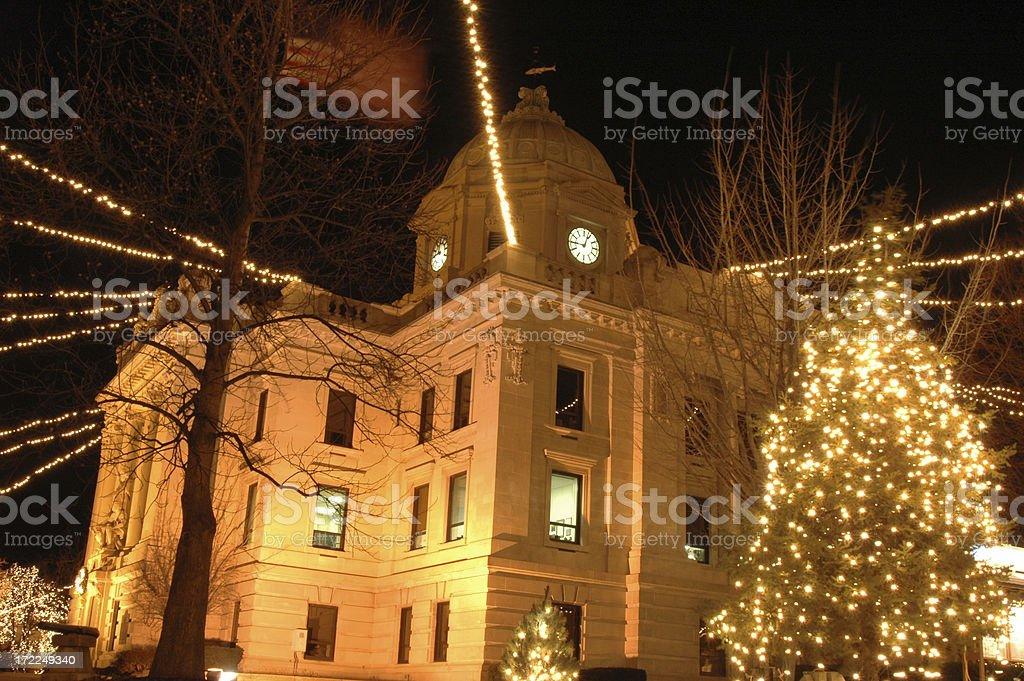 Bloomington Town Hall at Christmas stock photo