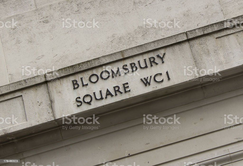 Bloomsbury Square sign stock photo