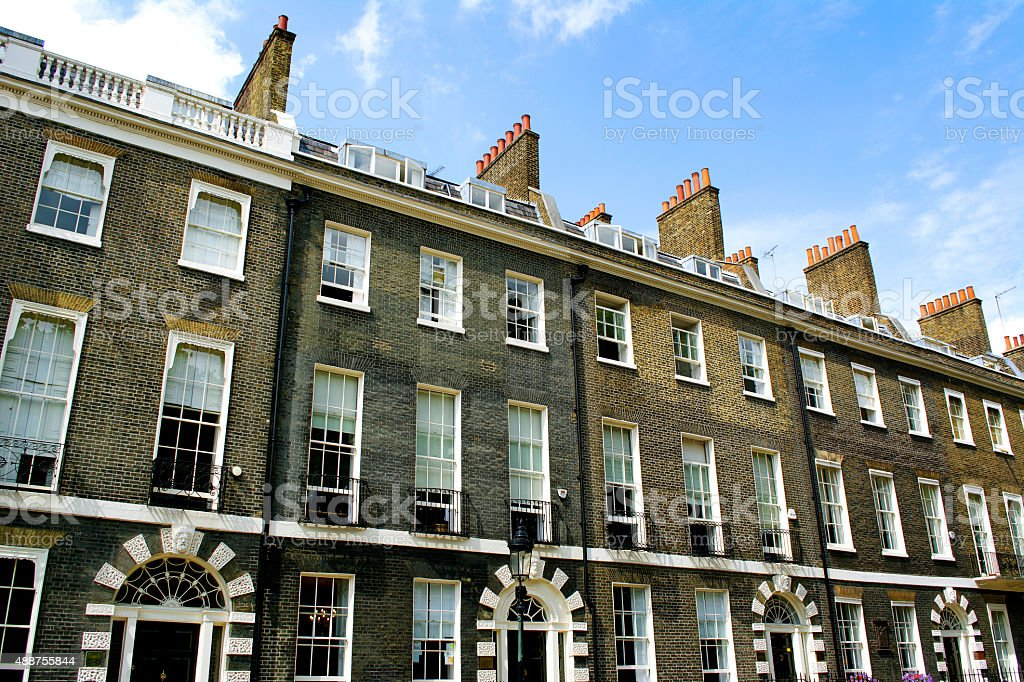 Bloomsbury Town Houses stock photo
