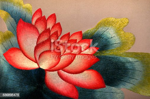 Chinese silk embroidery of colorful lotus flowers