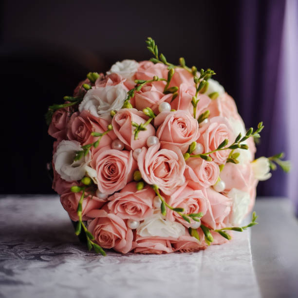 Blossoming bouquet of fresh flowers on the wedding day stock photo