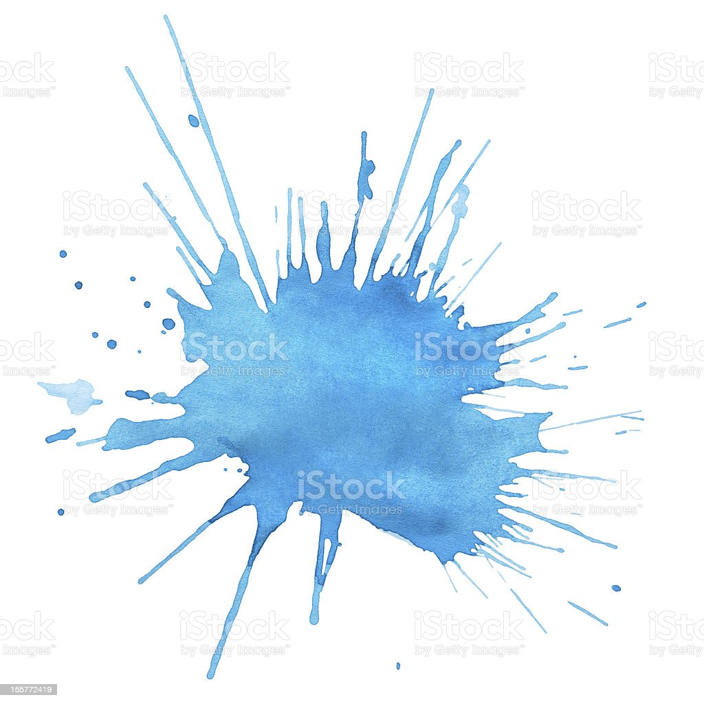 Blot of blue watercolor royalty-free stock photo
