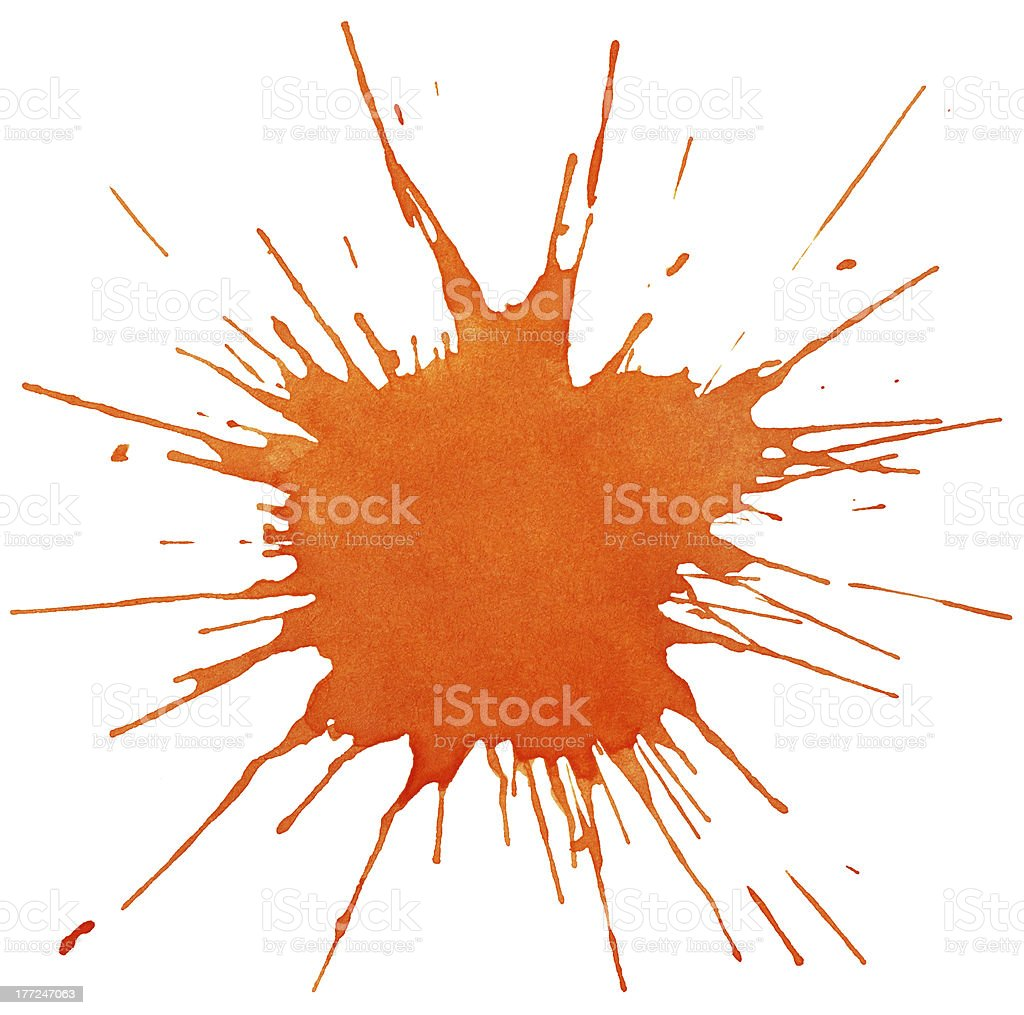 Blot of orange watercolor stock photo