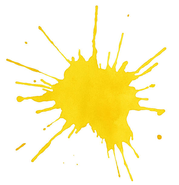 Blot of yellow water color on white background stock photo