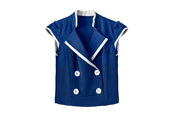 Blouse on white Blue school uniform blouse isolated over white sailor suit stock pictures, royalty-free photos & images
