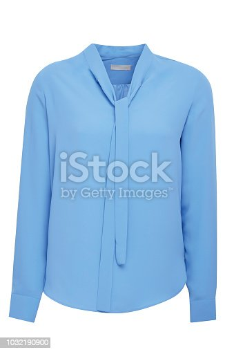 Blue women's blouse isolated on white background