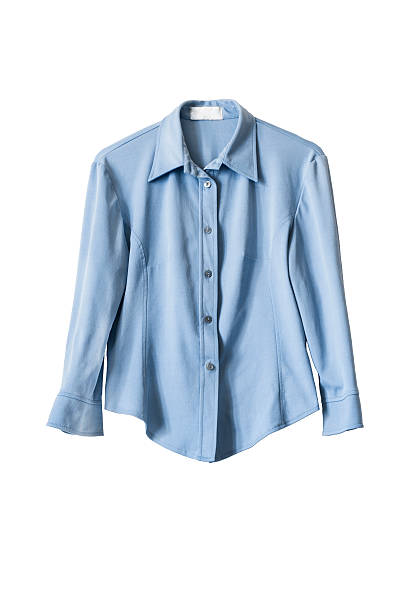 Blouse Blue silk office blouse isolated over white blouse stock pictures, royalty-free photos & images