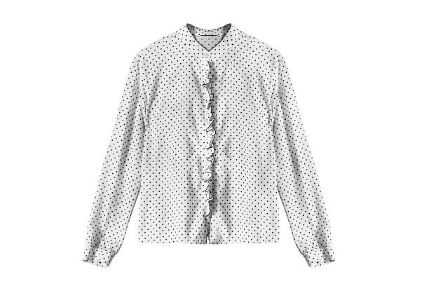 Blouse White silk blouse with polka dots isolated over white blouse stock pictures, royalty-free photos & images