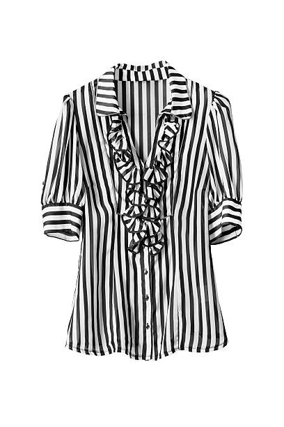 Blouse Chiffon striped black and white blouse on white background blouse stock pictures, royalty-free photos & images