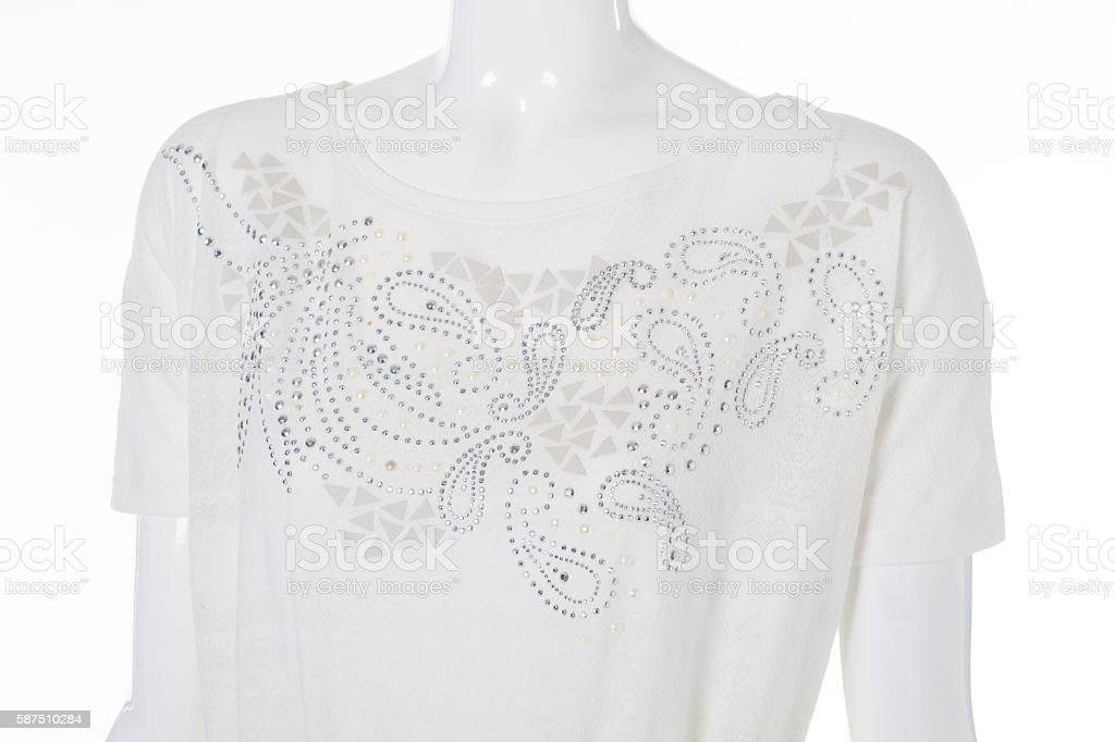 Blouse with rhinestone. stock photo