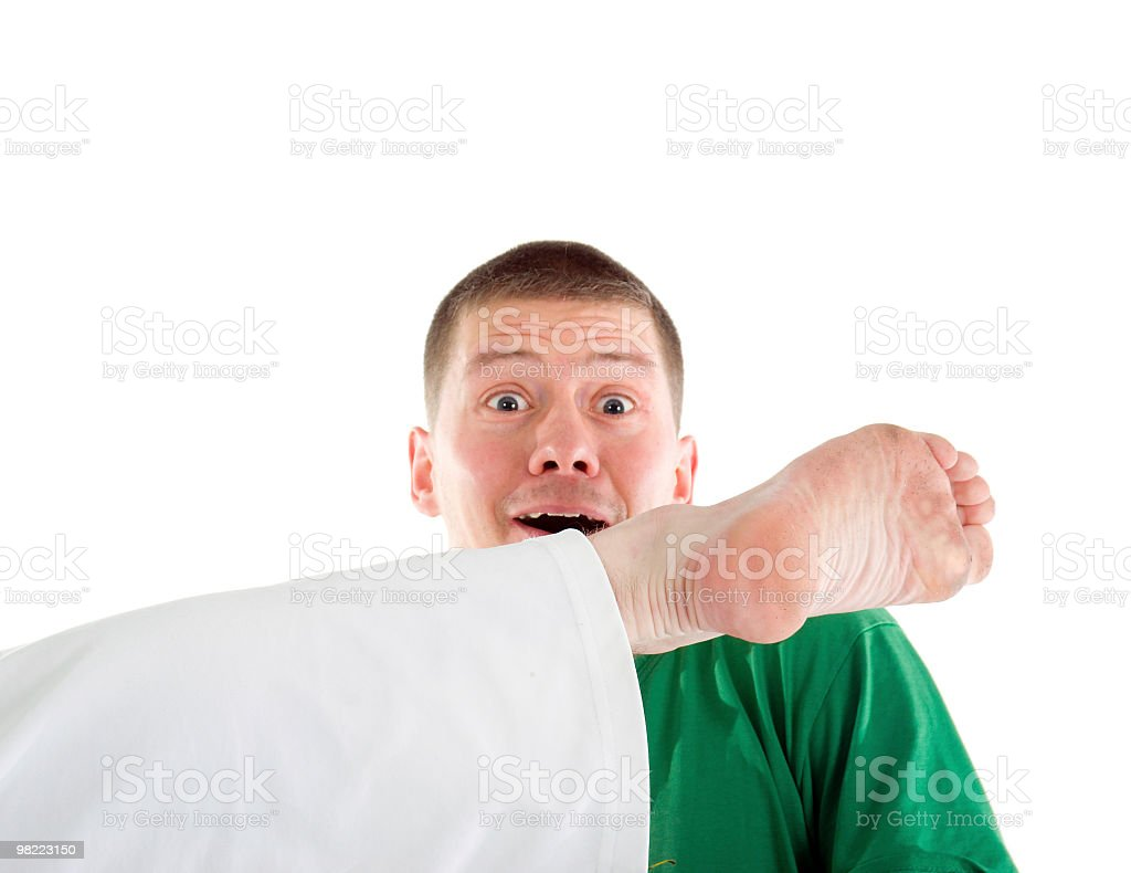 blow by leg head.surprise of  athlete royalty-free stock photo
