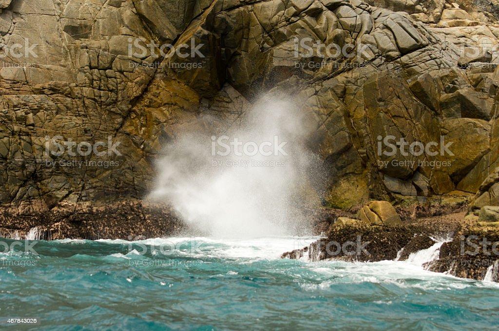 Blow Hole. La Bufadora, Bahías de Huatulco. Punta Santa Cruz stock photo