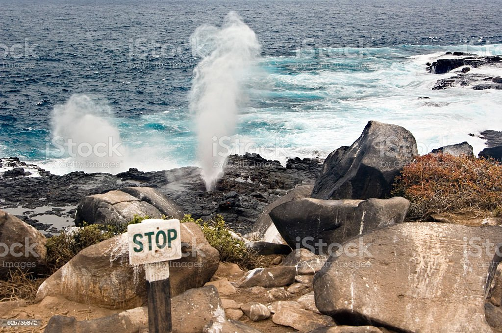 Blow Hole on Galapagos Islands stock photo
