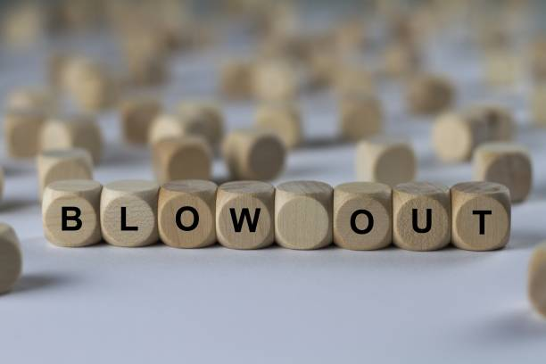 blow out - cube with letters, sign with wooden cubes series of images: cube with letters, sign with wooden cubes disgorge stock pictures, royalty-free photos & images