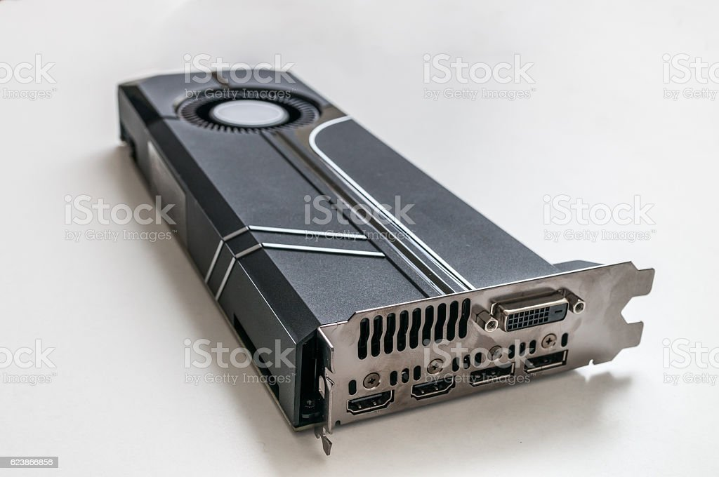 Blower type modern gaming videocard on white background. stock photo