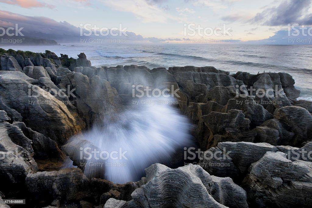 Blowhole at Pancake Rocks stock photo