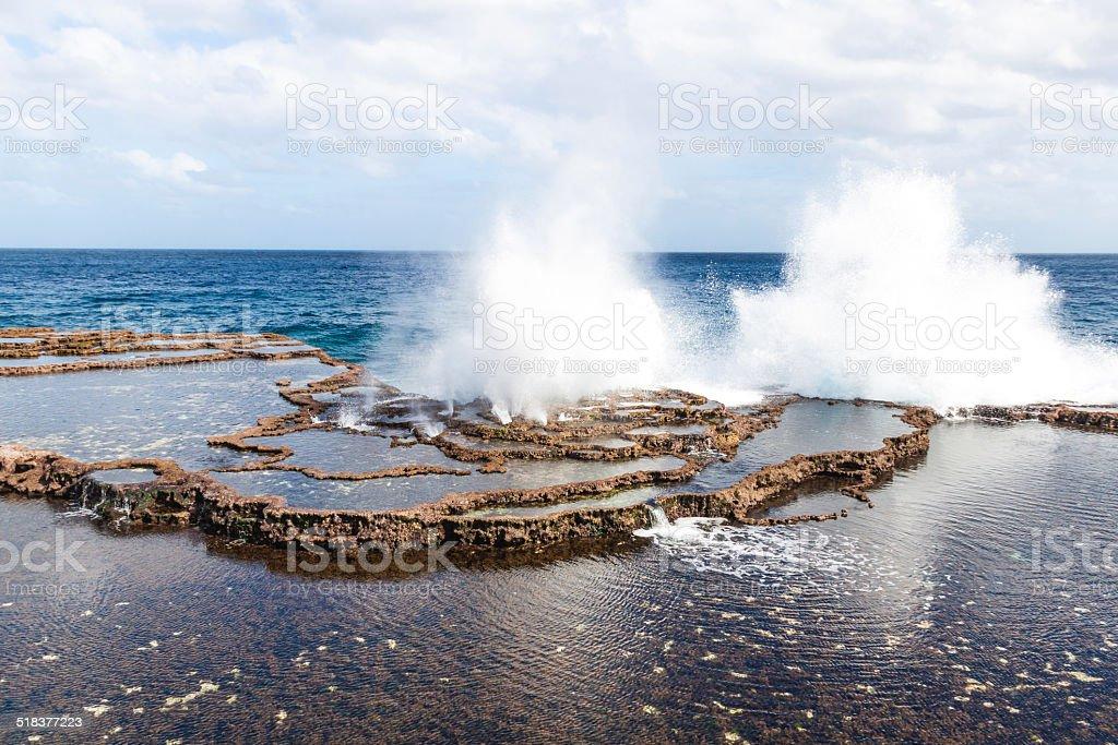 Blowhole on a coast of Tongatapu island, Tonga stock photo