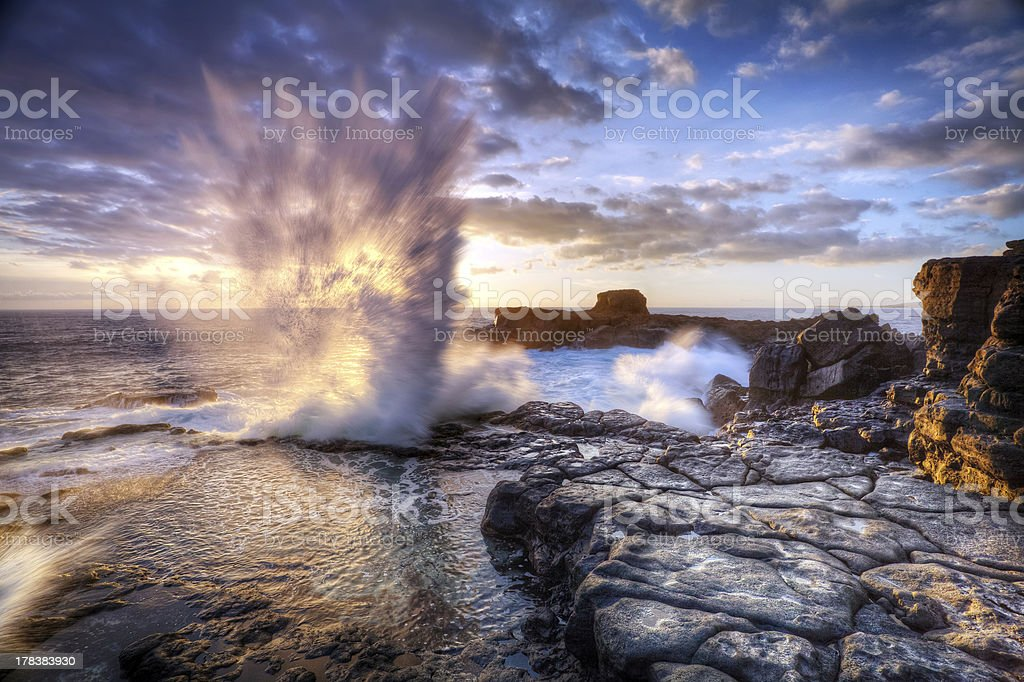 Blowhole on Reunion Island stock photo