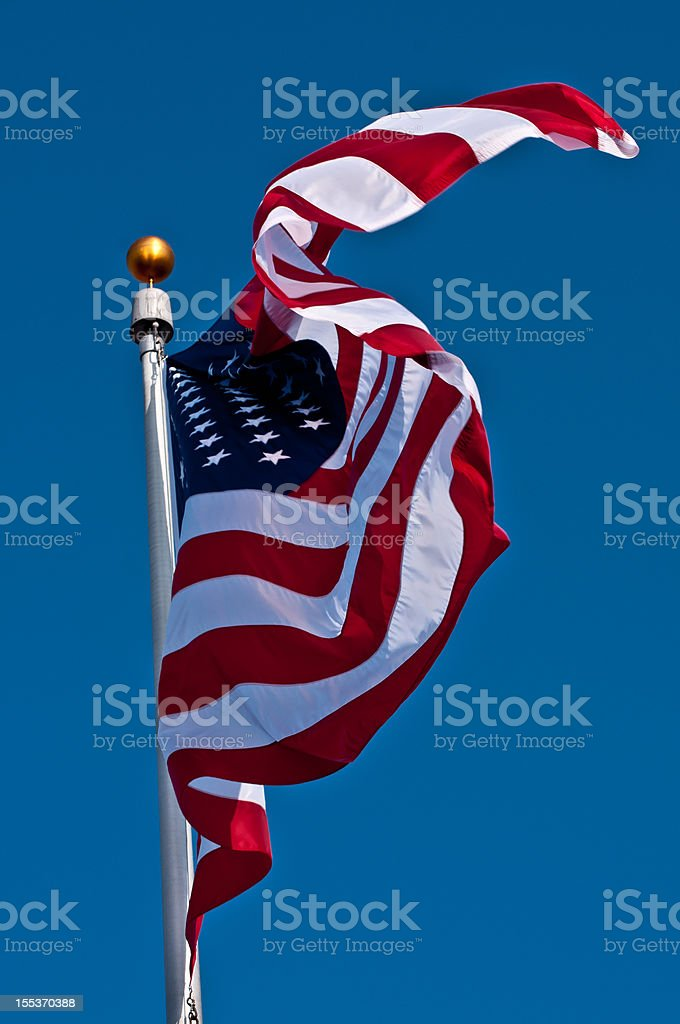 Blowing American Flag royalty-free stock photo