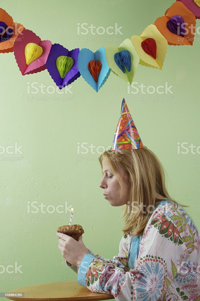 blowing candle royalty-free stock photo