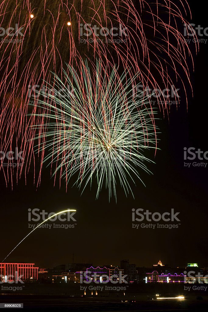 blowing fireworks over the buildings royalty free stockfoto