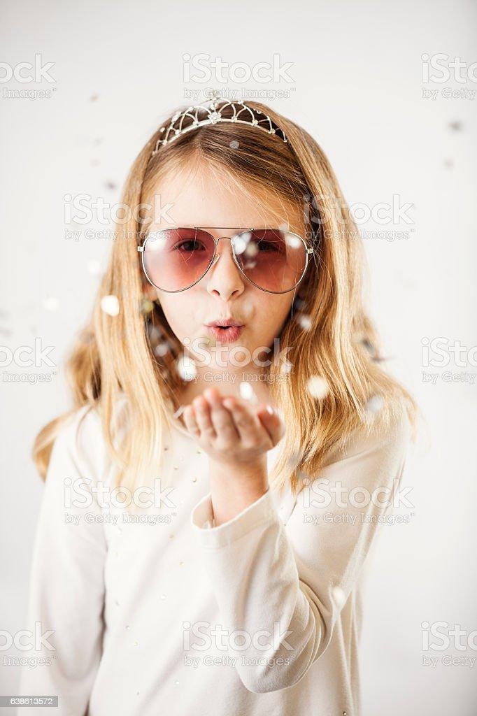 Blowing Glitter Wish stock photo