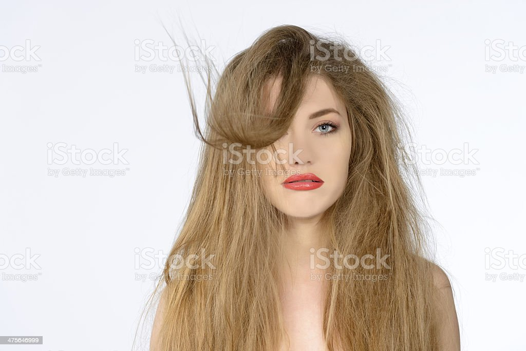 blowing hair stock photo