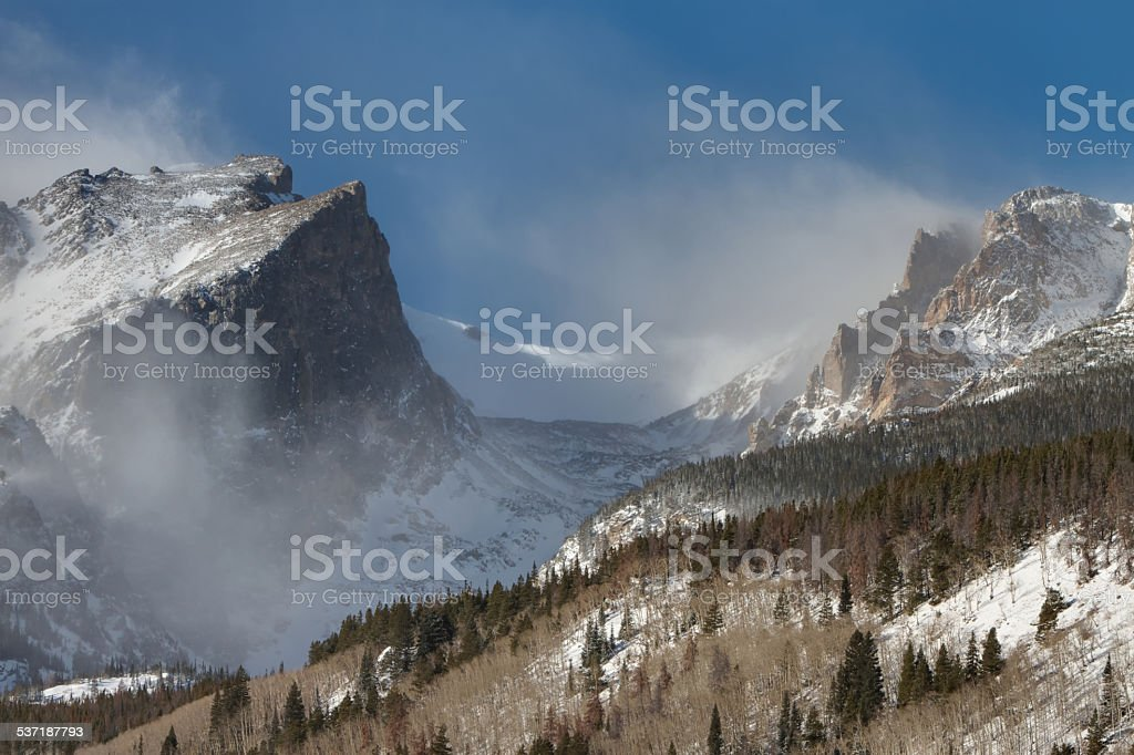 Blowing Snow at Hallett Peak royalty-free stock photo