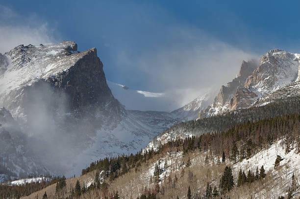 Blowing Snow at Hallett Peak stock photo