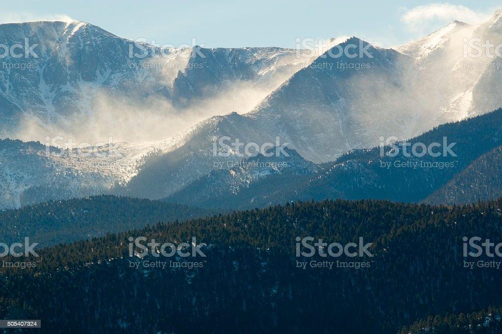 Blowing Snow on Pikes Peak Colorado stock photo