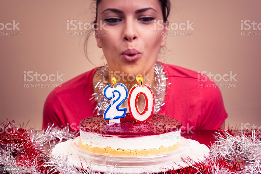 Blowing the candles stock photo
