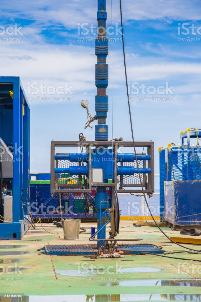Blowout preventer and lubricator for safety while working on high pressure gas well, Oil and gas wellhead remote platform activity. stock photo