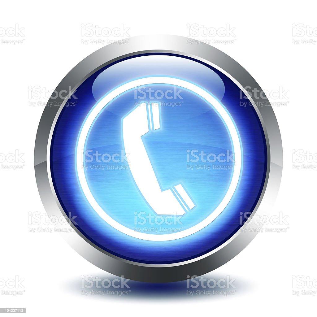 blu glass button - phone stock photo