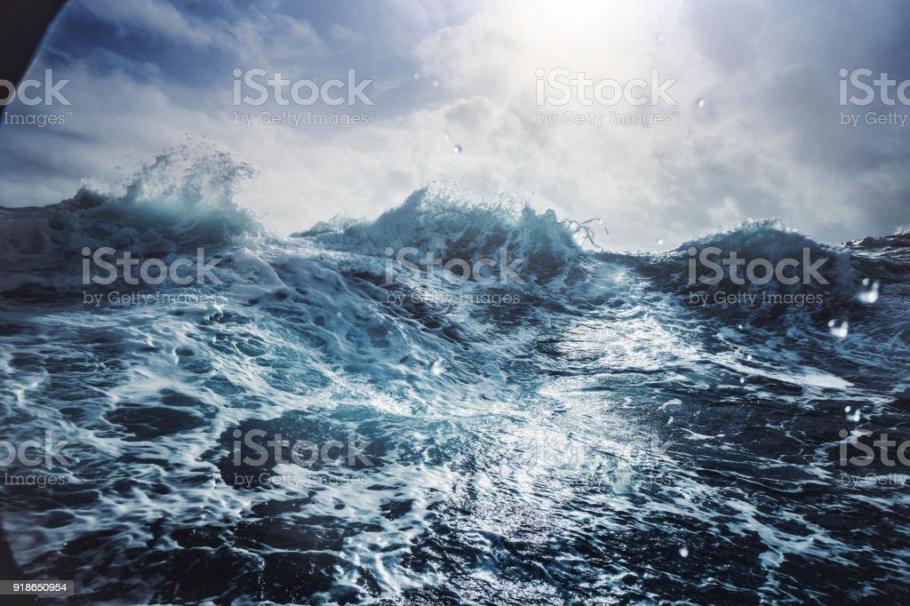 Blu rough sea stock photo