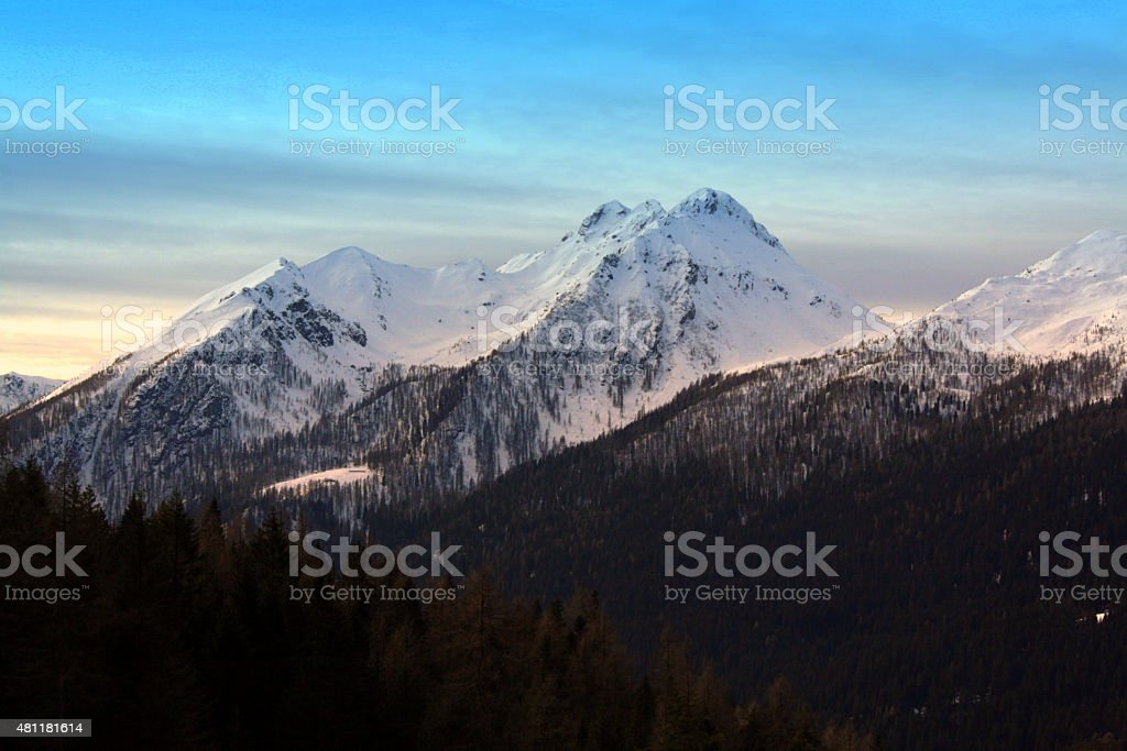 Blu sky mountains stock photo