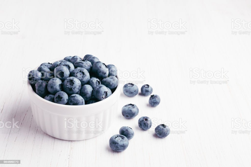 Bluberries in bowl stock photo