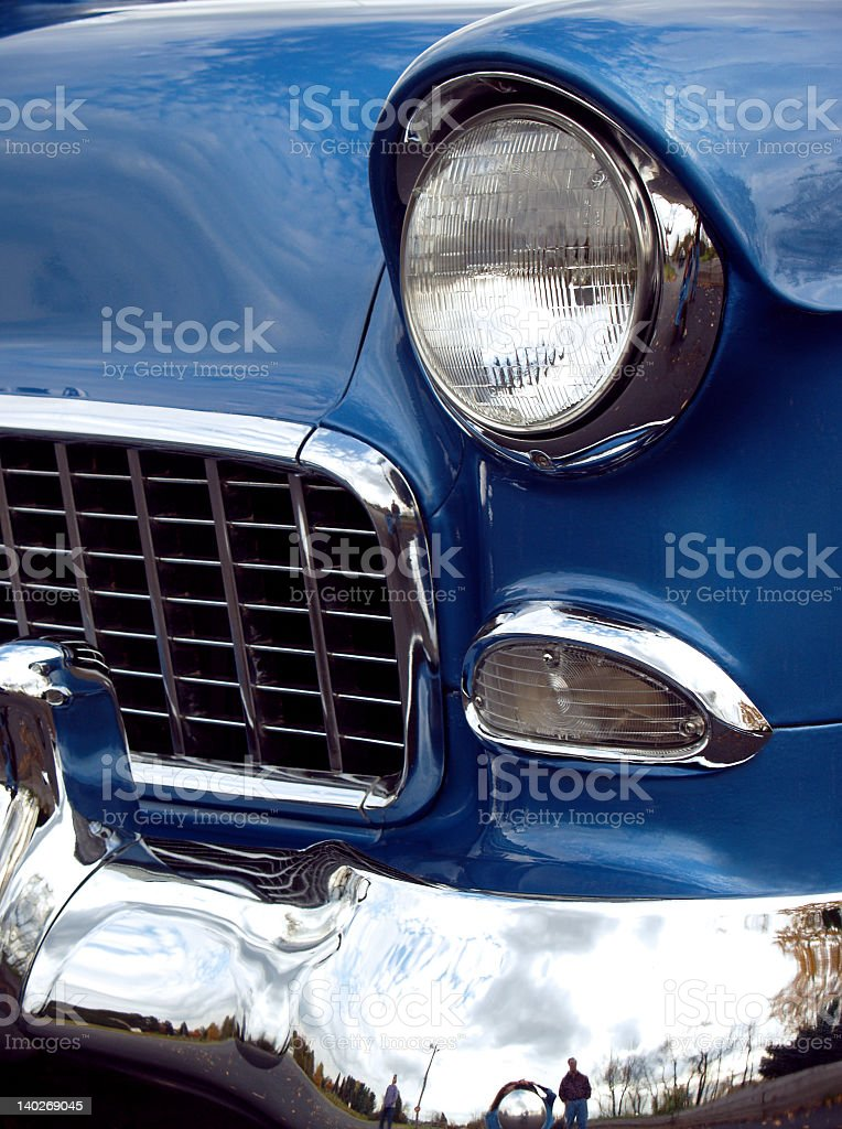 Blue 1955 Chevy 210 - Vintage Front End Beauty stock photo