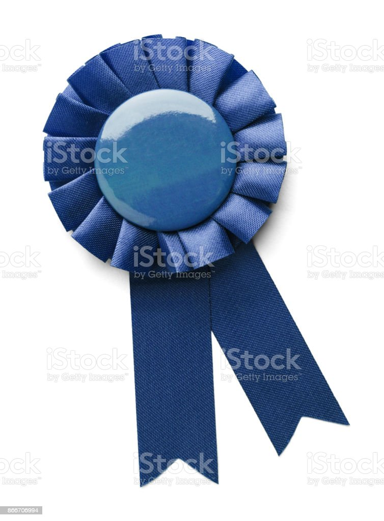 Blue 1st Place Ribbon stock photo
