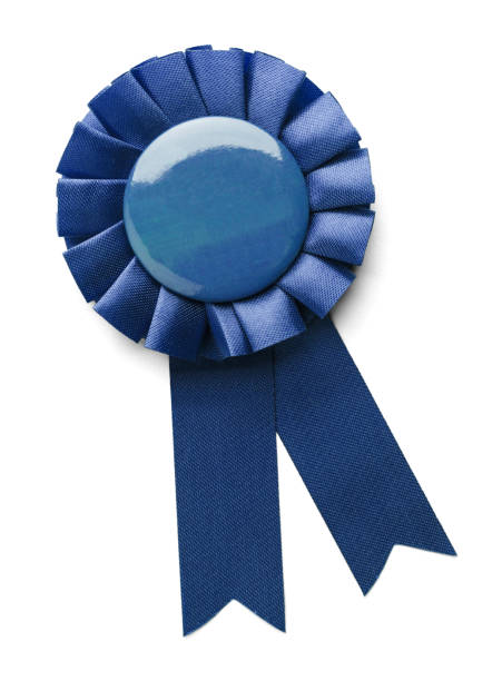 blue 1st place ribbon - award ribbon stock photos and pictures