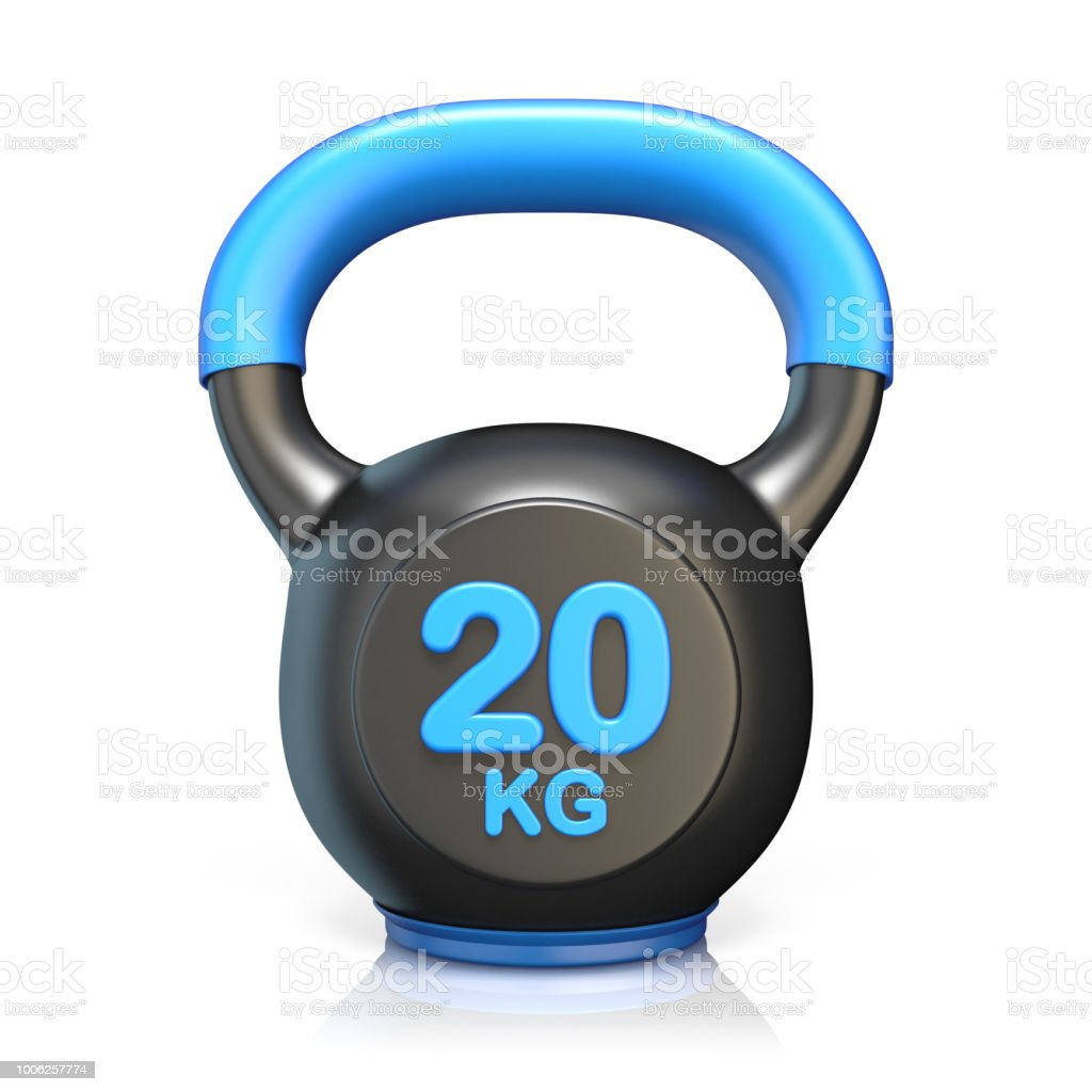 Blue 20 kg kettle bell 3D stock photo