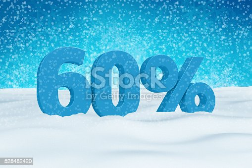 istock Blue 3d 60% text on snow for winter sale campaigns. 528482420