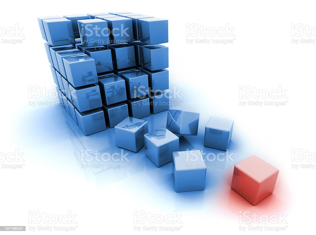 Blue 3d blocks - one red royalty-free stock photo