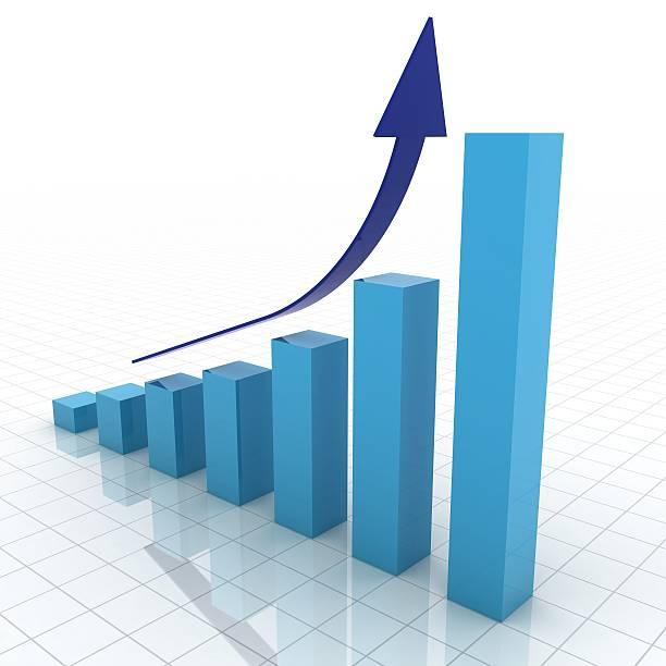 blu 3d grafico che mostra la crescita del business - diagramma a colonne foto e immagini stock
