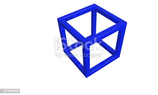 453066423 istock photo Blue 3d cube frame structure isolated on white 187809995
