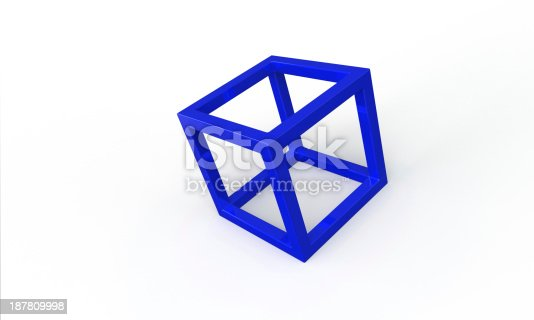 453066423 istock photo Blue 3d cube frame structure isolated on white 187809998