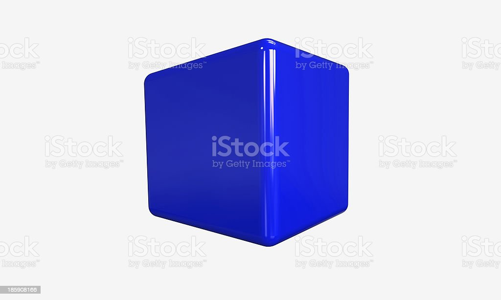 Blue 3d cube isolated on white royalty-free stock photo